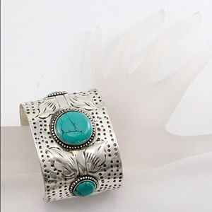 Jewelry - Embossed Silver Plated Turquoise Stone Cuff-New